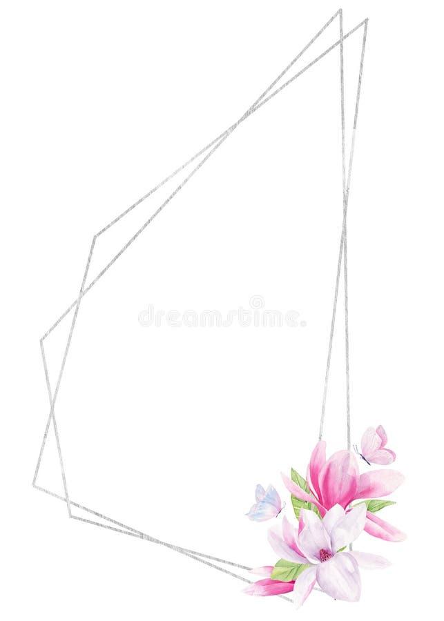 Vlinder op malplaatje van het de roosterkader van de bloemwaterverf het hand getrokken stock illustratie
