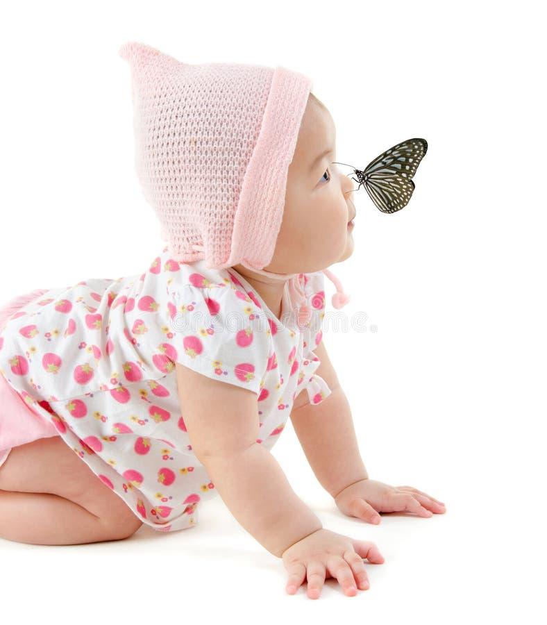 Vlinder op neus stock foto