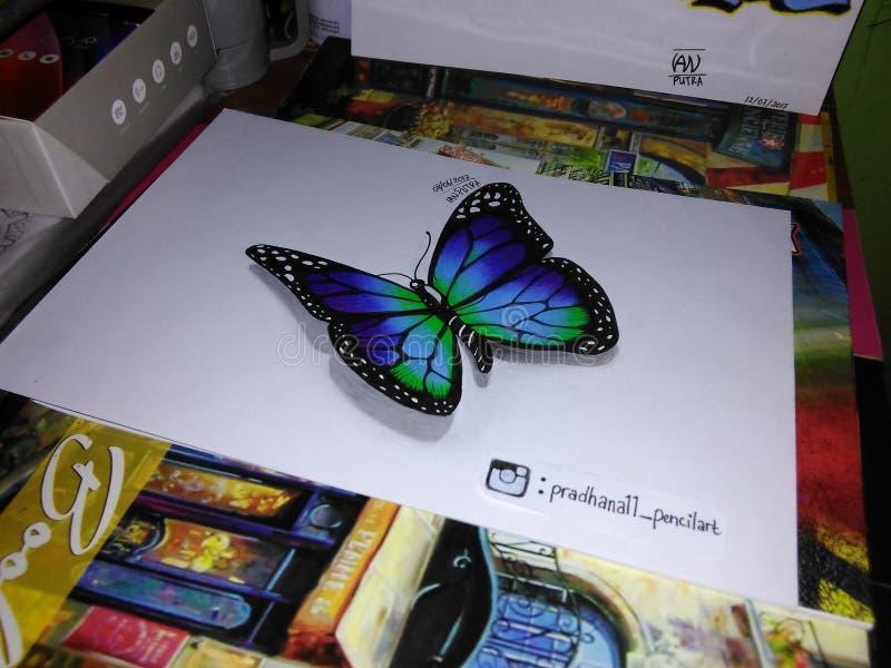 Vlinder op papier stock afbeelding