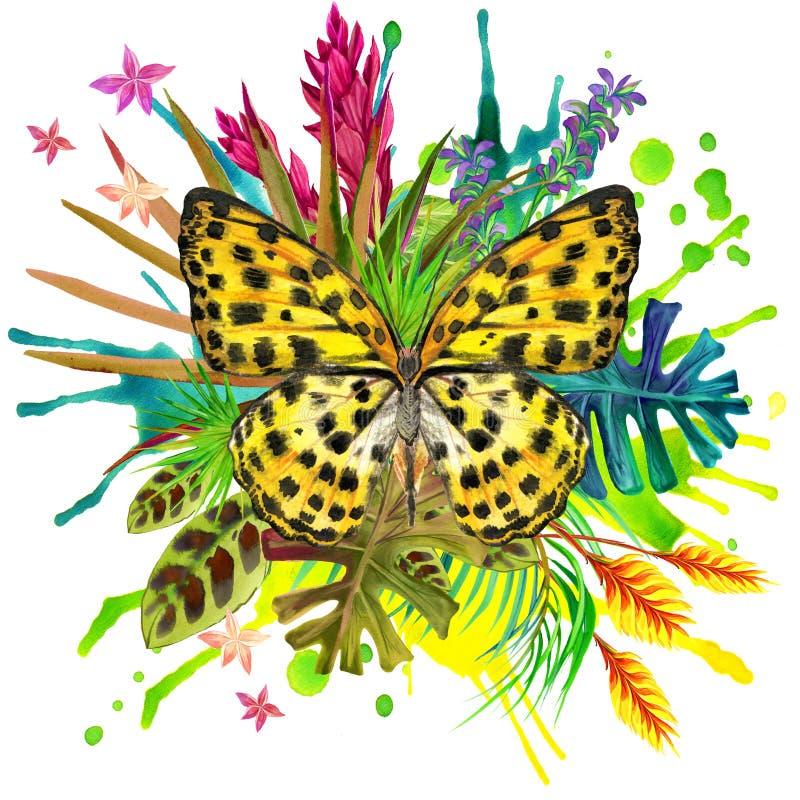 Vlinder, tropische bladeren en exotische bloem