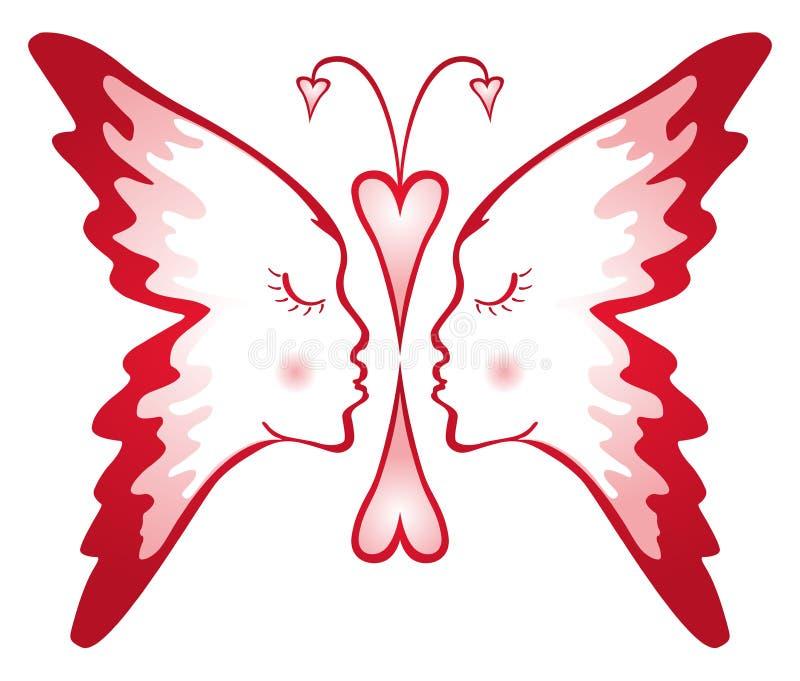 Vlinder van liefde vector illustratie