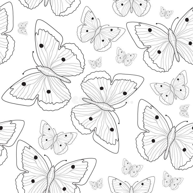 Vlinderhand die naadloze patroonschets trekken Zwart-witte vlinderachtergrond Vector illustratie royalty-vrije illustratie