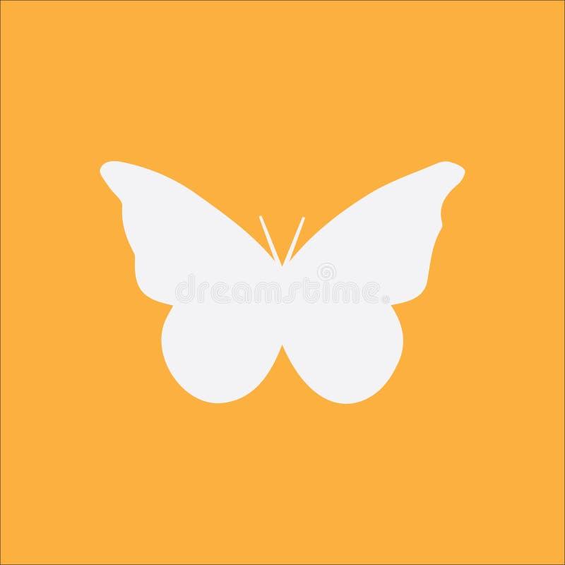Vlinderpictogram op oranje achtergrond stock fotografie