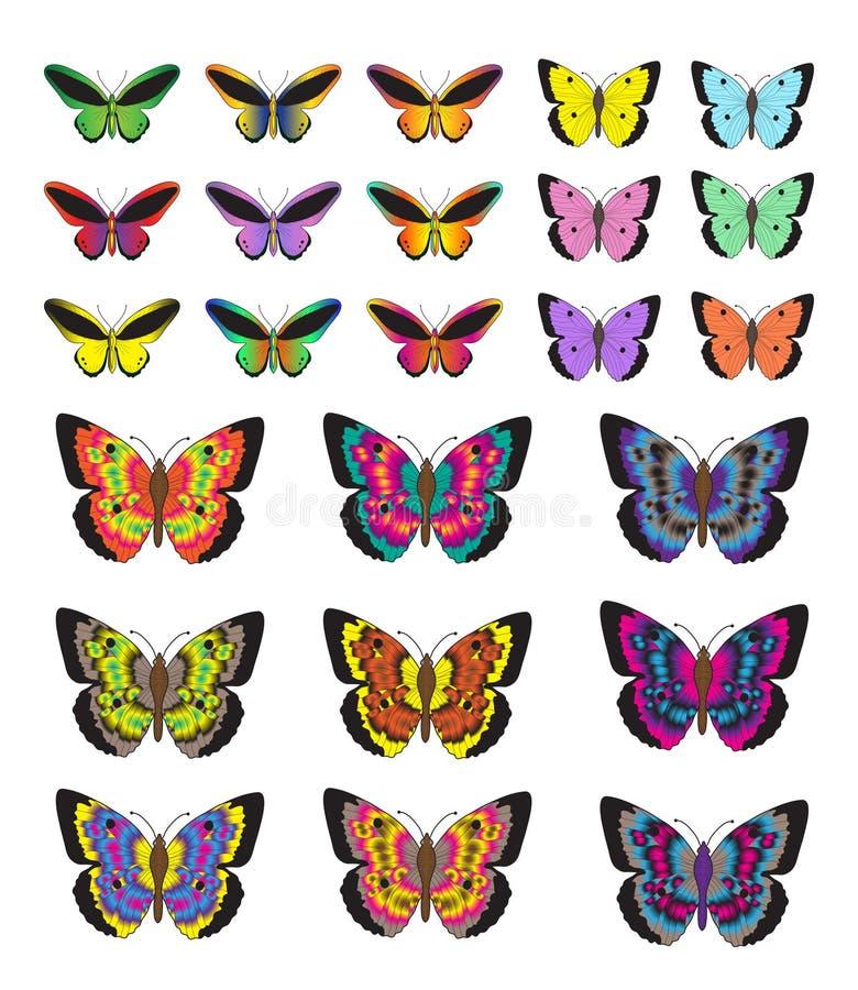 Vlinderreeks, op witte achtergrond wordt geïsoleerd die Multicolored vlinders Vectorillustratie, klemart. stock illustratie
