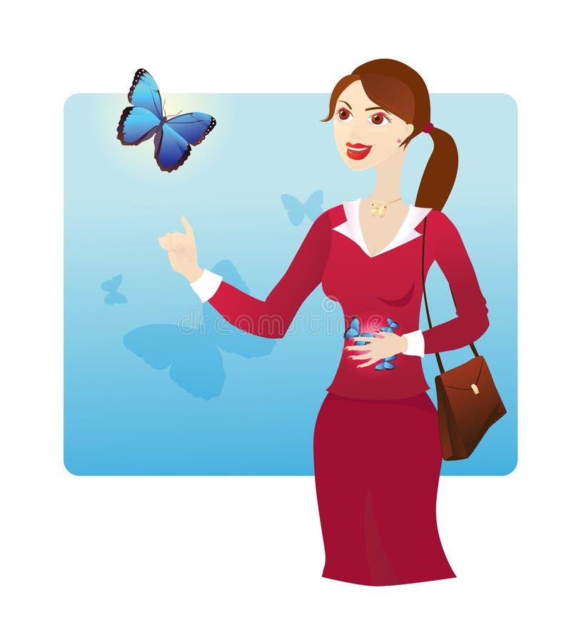 Vlinders in de maag royalty-vrije illustratie