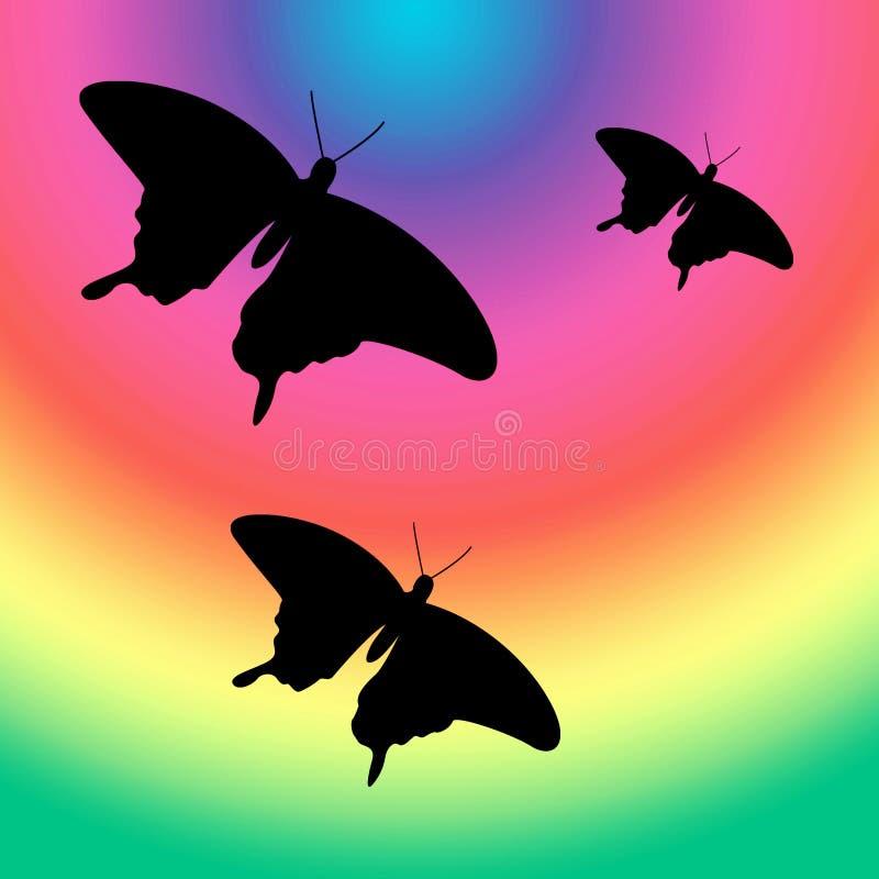 Vlinders in de regenboog stock illustratie