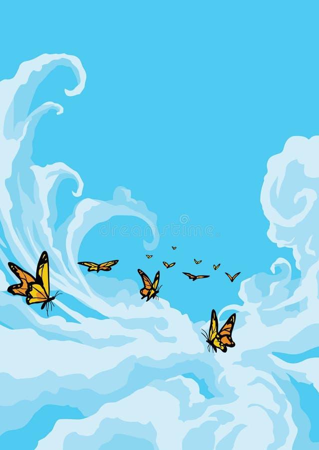 Vlinders die in de Blauwe Hemel vliegen stock illustratie