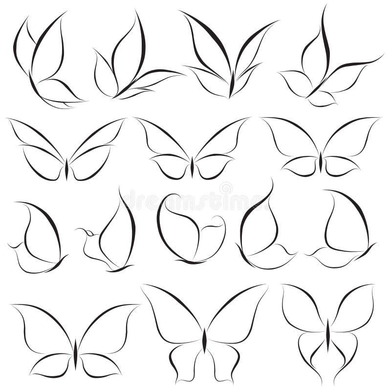 Vlinders. Elementen voor ontwerp. royalty-vrije illustratie