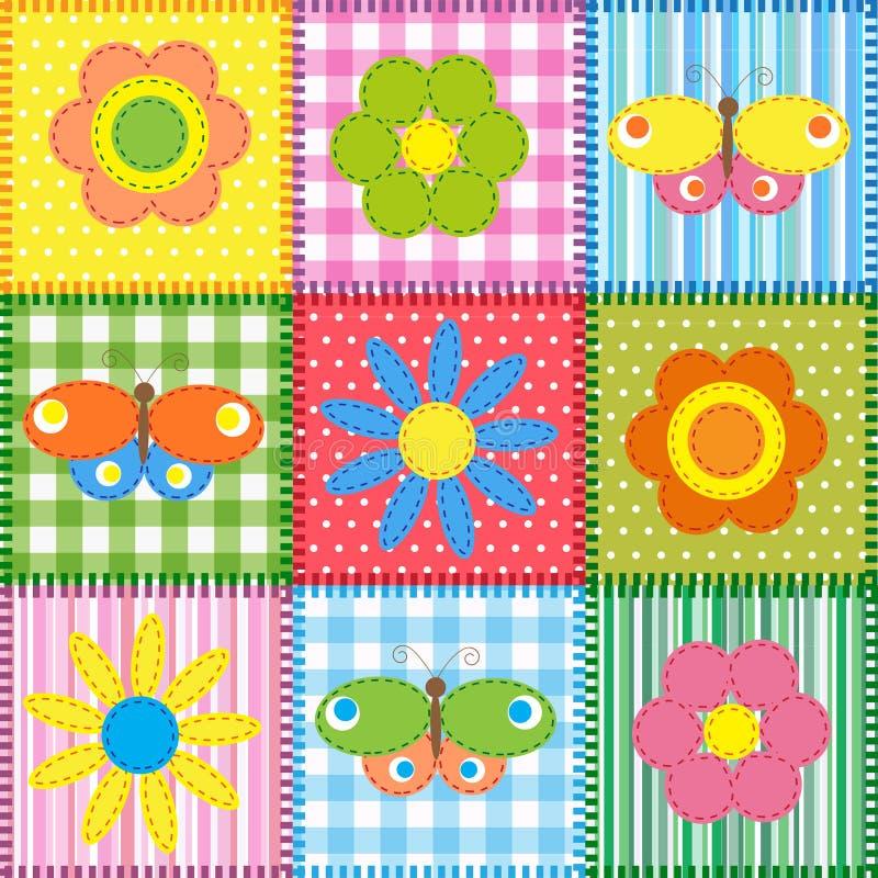 Vlinders en bloemen stock illustratie
