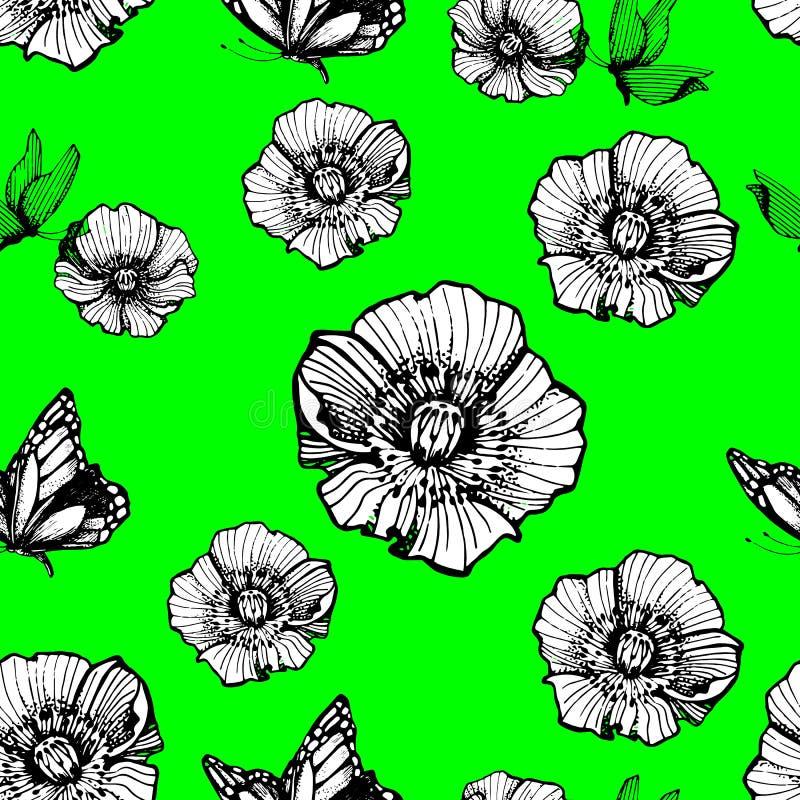 Vlinders en bloemen op een groene achtergrond Decoratieve druk Abstract zwart-wit naadloos patroon vector illustratie
