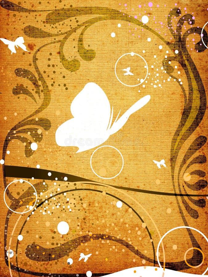Vlinders en bloemenframe op geweven achtergrond royalty-vrije illustratie