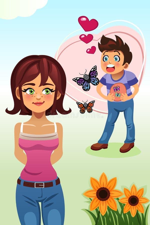 Vlinders in het Maagconcept royalty-vrije illustratie