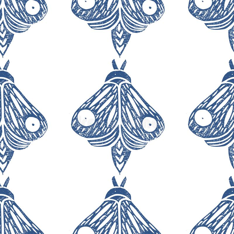 Vlinders Naadloos patroon Linocut met de hand gemaakte vectorillustratie Blauw-grijze kleur Geïsoleerd op wit stock illustratie