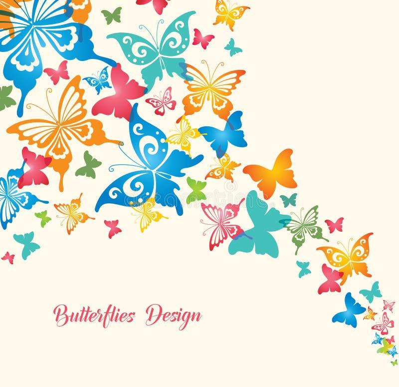 Vlinders op witte achtergrond stock illustratie