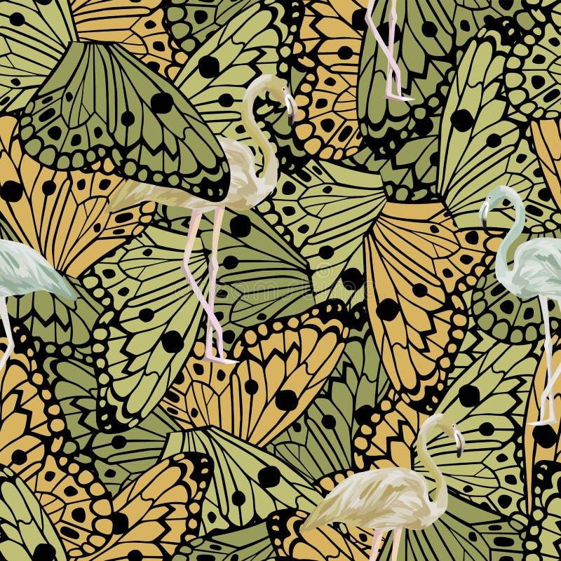 Vlindersvleugels en de abstracte naadloze vector van de kleurenflamingo stock illustratie