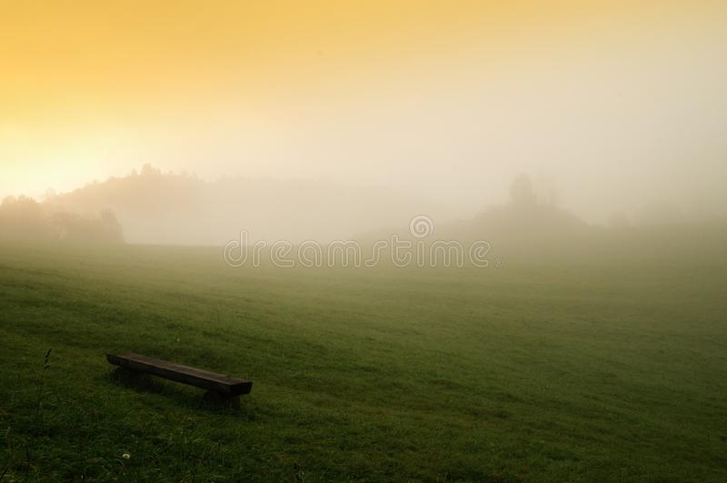 Vlkolínec. A view of foggy morning in General Vlkolínec registered by UNESCO, located in central Slovakia stock images