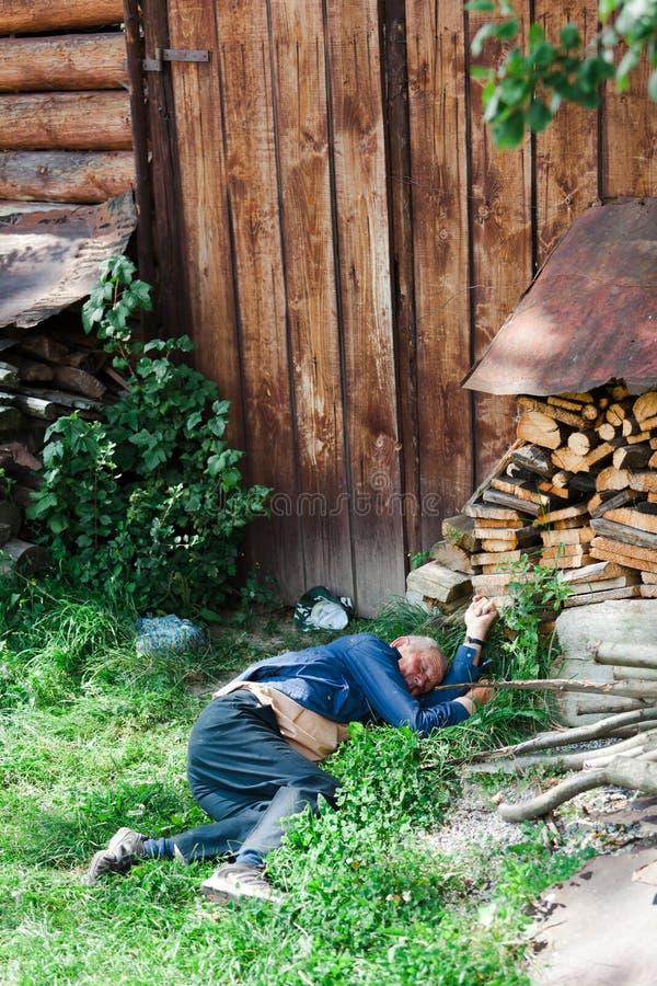 Vlkolinec, Σλοβακία, 13η Τον Αύγουστο του 2010: Ύπνος ατόμων στη χλόη στοκ φωτογραφία