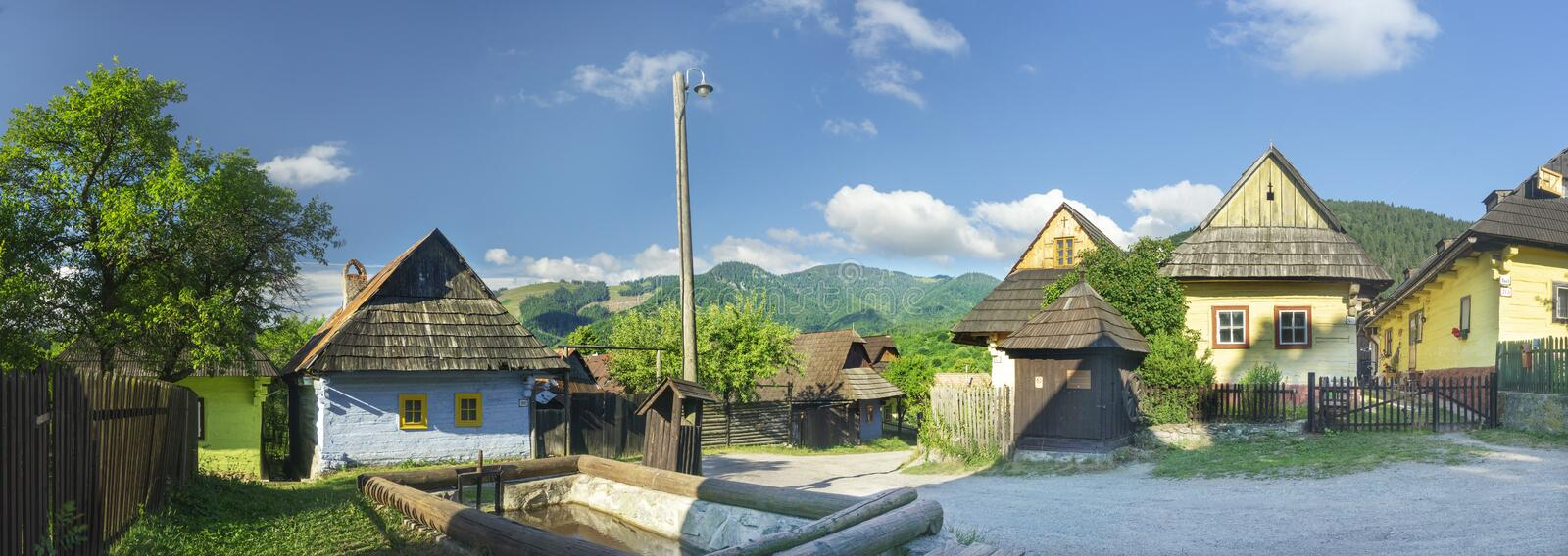 Vlkolinec panorama. Vlkolinec is a folk architecture reservation at Slovakia. The village has been listed as a UNESCO World Heritage site since 1993. It is rare royalty free stock photos