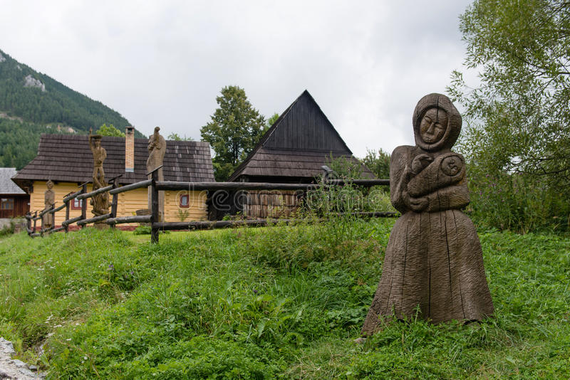 Vlkolinec, Slowakije - Unesco-de plaats van de Werelderfenis stock fotografie