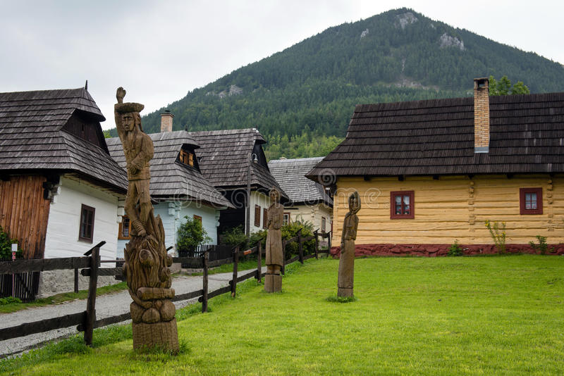Vlkolinec, Slowakije - Unesco-de plaats van de Werelderfenis stock foto's