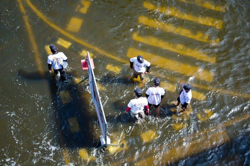 Vloed in Bangkok, Thailand stock afbeelding