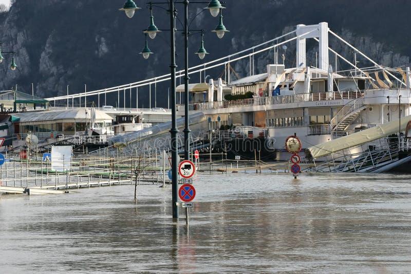 Vloed in Boedapest royalty-vrije stock foto's