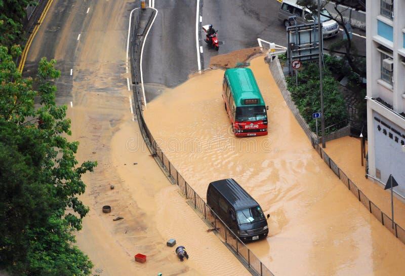 Vloed in de stad van Hongkong stock afbeeldingen