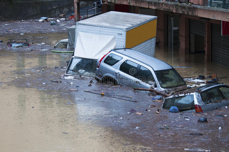 Vloed in Genua stock fotografie