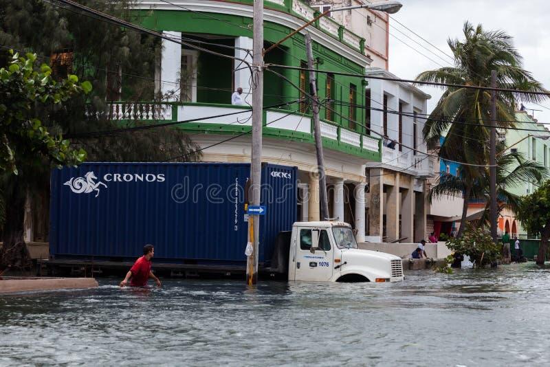 Vloed in Havana, Cuba royalty-vrije stock afbeelding