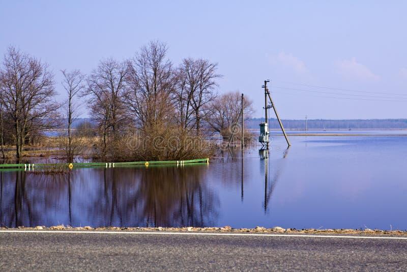 Vloed in Wit-Rusland dichtbij Mogilev. royalty-vrije stock foto