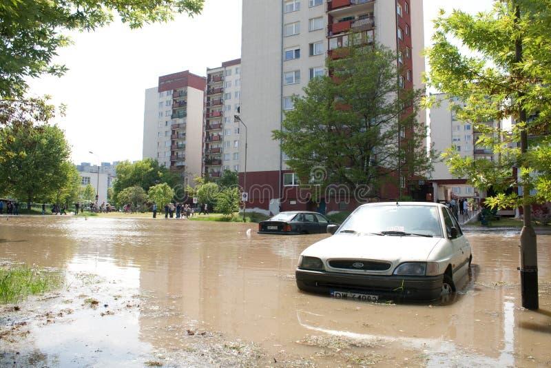 Vloed in Wroclaw, Kozanow 2010 stock foto's