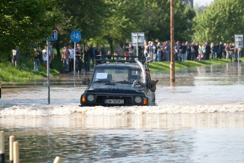 Vloed in Wroclaw, Kozanow 2010 stock foto