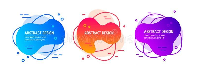 Vloeibaar vloeibaar abstract ontwerp in vlakke stijl royalty-vrije illustratie