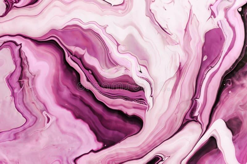 Vloeibaar art. Schaduwen van roze golven en krullen Abstracte marmeren achtergrond of textuur royalty-vrije stock foto