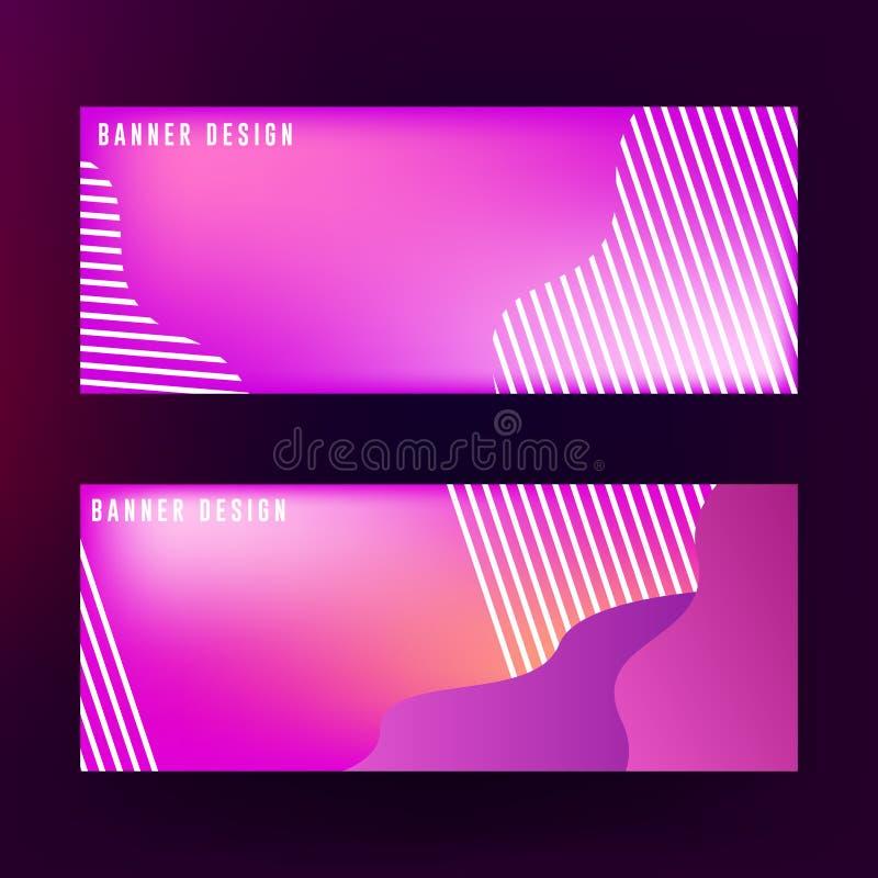 Vloeibaar bannerontwerp als achtergrond Abstract vloeibaar bannerontwerp met rode, purpere en blauwe kleurencombinatie vector illustratie