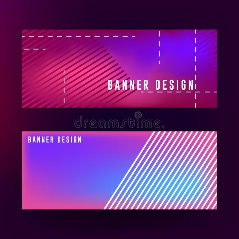Vloeibaar bannerontwerp als achtergrond Abstract vloeibaar bannerontwerp met rode, purpere en blauwe kleurencombinatie royalty-vrije illustratie