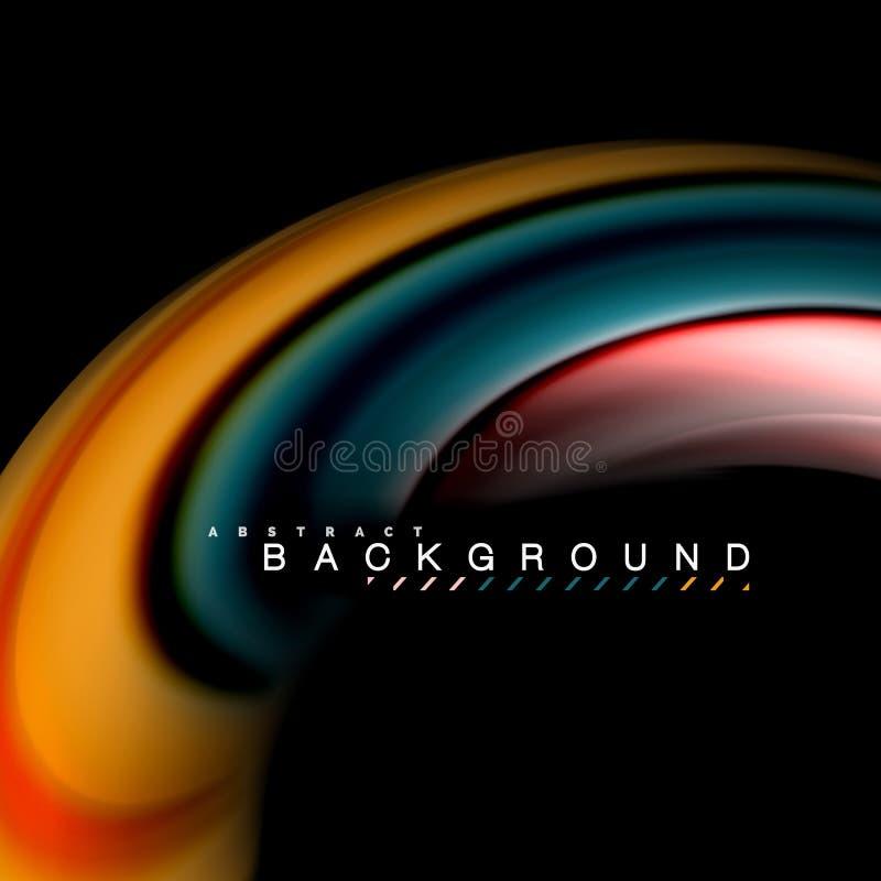 Vloeibaar het mengen zich van de kleuren vectorgolf abstract ontwerp als achtergrond Kleurrijke netwerkgolven stock illustratie