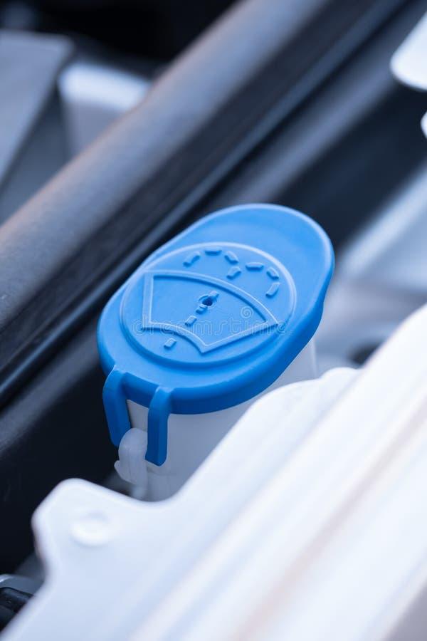 Vloeibaar het reservoirglb close-up van de windschermwasmachine stock foto