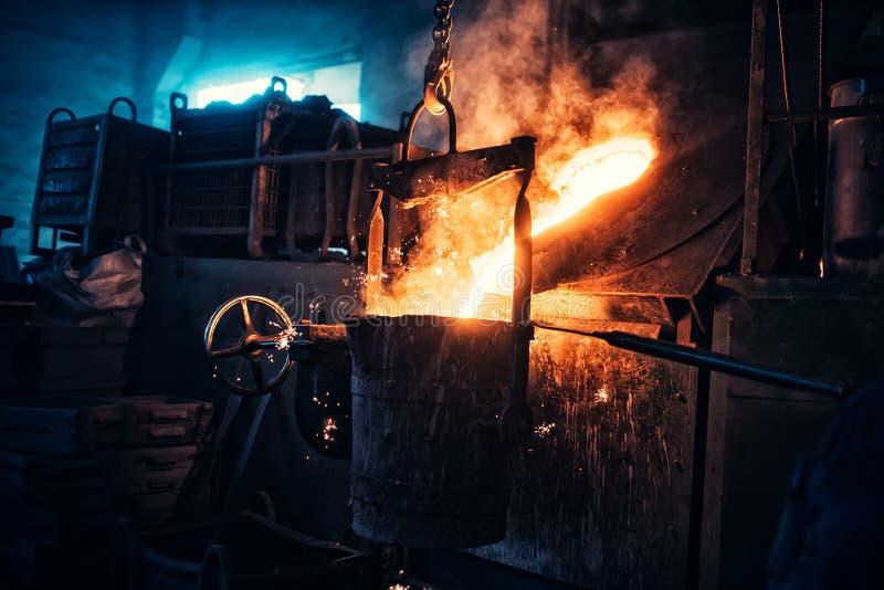 Vloeibaar ijzer die in staalfabrieken stromen Industriële details van metallurgische fabriek of installatie Details van uitsmelti stock afbeeldingen
