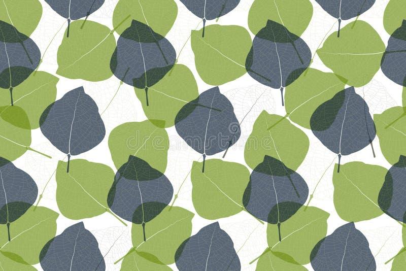 Vloeibaar naadloos patroon van de florale vector van de kunst Blauwe, lichtgroene, doorzichtige overlaybladeren royalty-vrije stock afbeelding