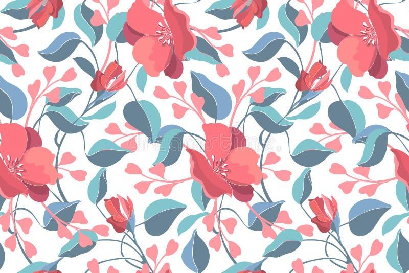 Vloeibaar naadloos patroon van de florale vector van de kunst Roze geranium, viola, blauwe bladeren vector illustratie