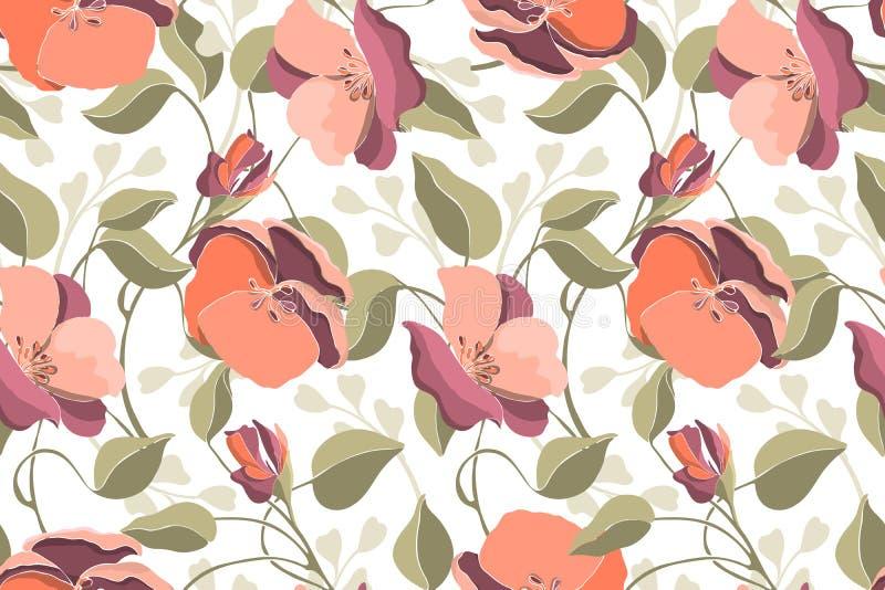 Vloeibaar naadloos patroon van de florale vector van de kunst Roze geranium, viola, groene bladeren stock illustratie