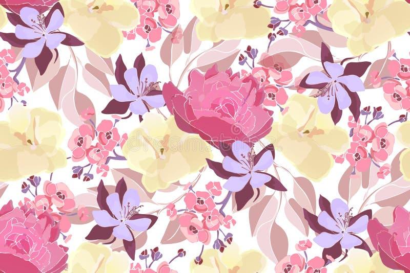 Vloeibaar naadloos patroon van de florale vector van de kunst Roze pinda's, geel viola, paarse columbine royalty-vrije illustratie