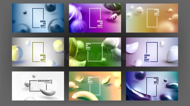 Vloeibare Abstracte Vloeibare Vastgestelde Vector Als achtergrond Digitale Kleur Futuristische banner In creatief Brede Golfstroo stock illustratie