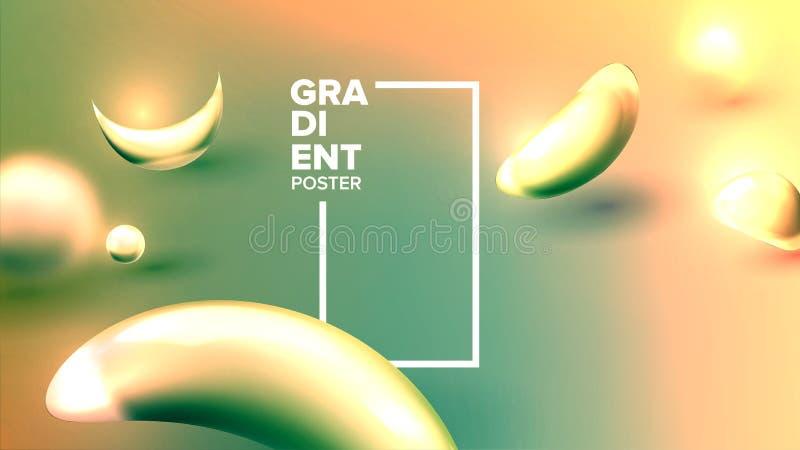 Vloeibare Abstracte Vloeibare Vector Als achtergrond Elementenconcept Dynamisch Art. De Brochure van de Webwetenschap 3d realisti royalty-vrije illustratie