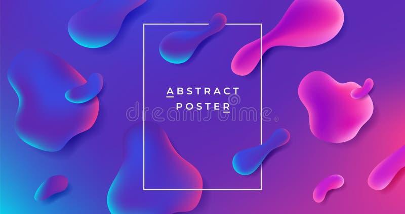 Vloeibare achtergrond Abstracte gradiëntvorm, futuristisch geometrisch vloeibaar grafisch malplaatje, minimale dynamische affiche royalty-vrije illustratie