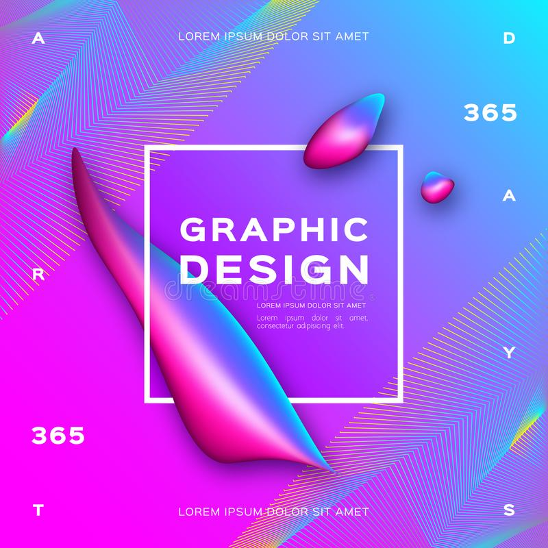 Vloeibare achtergrond, Gradiënt vloeibare vormen Geometrische abstracte achtergrond In grafische ontwerpaffiche, Vector vector illustratie