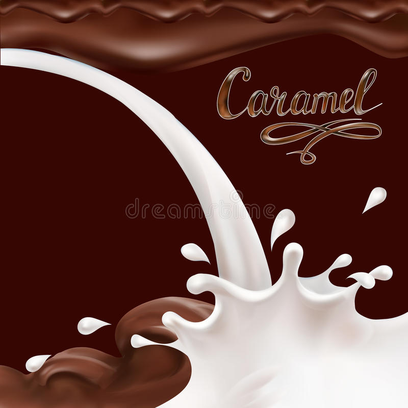 Vloeibare chocolade, karamel of cacaoillustratie vectorletterin stock illustratie