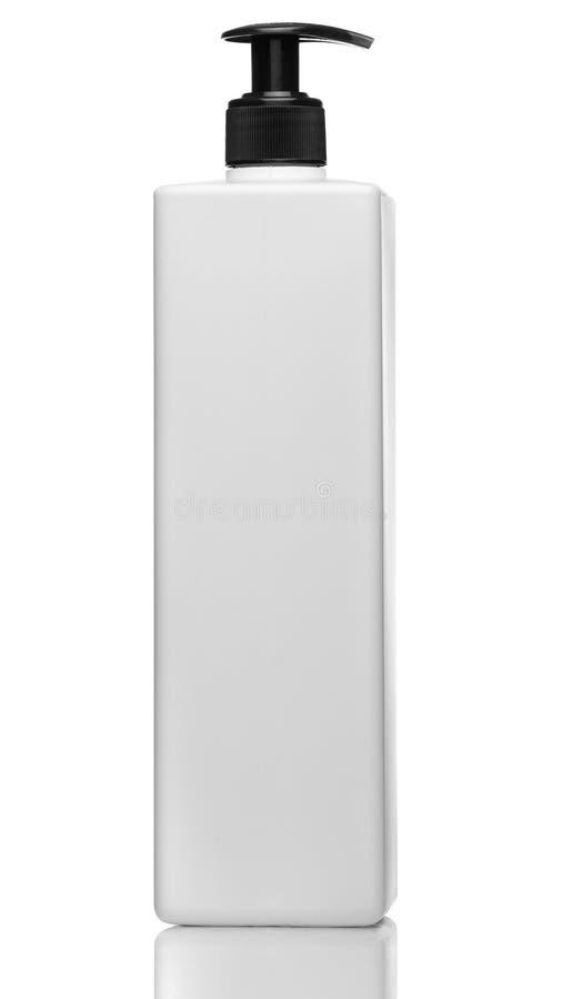 Vloeibare container voor gel, lotion, room, shampoo, de Kosmetische plastic fles van het badschuim met witte automaatpomp royalty-vrije stock foto