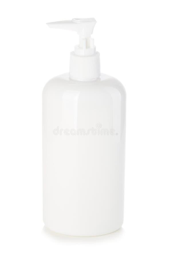 Vloeibare container voor gel, zeep, room, shampoo, badschuim Kosmetische plastic fles met witte automaatpomp royalty-vrije stock fotografie
